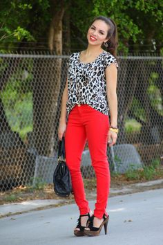 Red Jeans + Leopard