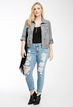 Distressed Skinny Jeans   FOREVER21 PLUS - 2000082451