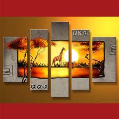 Landscape Giraffe 5 Panel Framed Canvas Art #CanvasArt #Flowers #Framed #Nature #ReadyToHang
