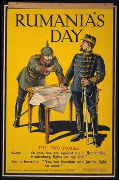 British poster, welcoming Romania's decision to join the Entente