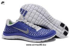 Authentic Mens 511457-004 Nike Free 3.0 V4 Platinum Reflect Silver Deep Royal Blue Free Running Shoes