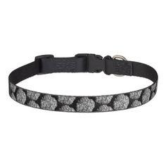 Medium Dog Collar - Black & White Hydrangea - dog puppy dogs doggy pup hound love pet best friend