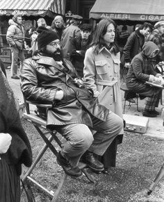 "Francis Ford Coppola on the set of ""The Godfather Part II"" with his wife, Eleanor Coppola"