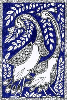 These are illustrations inspired by Madhubani painting--a folk art from India Madhubani Paintings Peacock, Kalamkari Painting, Madhubani Art, Indian Art Paintings, Gond Painting, Mural Painting, Fabric Painting, Traditional Paintings, Traditional Art