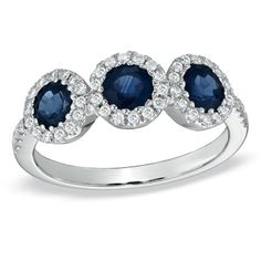 Sapphire and 1/5 CT. T.W. Diamond Three Stone Ring in 14K White Gold - Zales    Love  this - would look great on my finger    $859