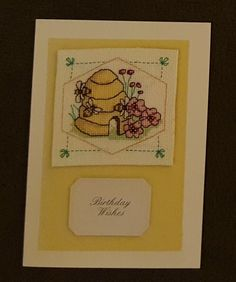 Birthday Card Completed Cross Stitch Honey Bee Pink Flowers Bee Hive Best Wishes