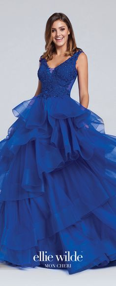 Prom Dresses 2017 - Ellie Wilde for Mon Cheri - royal blue sleeveless tulle ball gown prom dress with lace bodice - Style No. EW117081