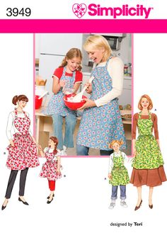 Child and Womens Aprons Sewing Pattern 3949 Simplicity