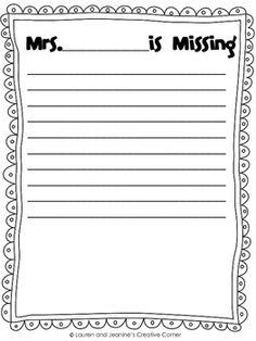 My Teacher is Missing Writing Activity - Lauren and Jeanine's Creative Corner - TeachersPayTeachers.com