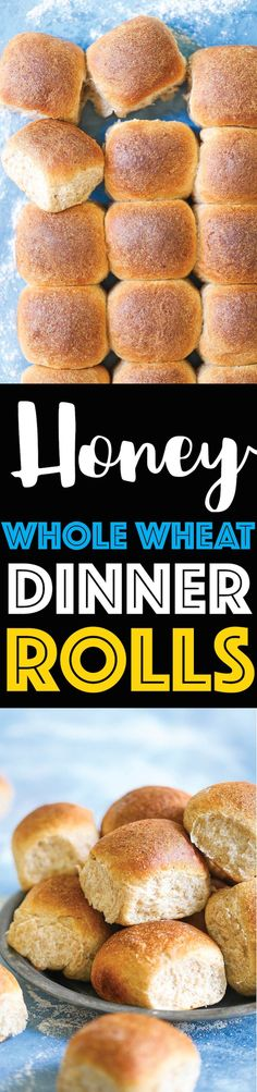 Honey Whole Wheat Dinner Rolls - So soft, fluffy and perfectly golden brown! These may just be the BEST dinner rolls you will ever have! And these are so much healthier than the traditional dinner rolls. Win-win situation here! Muffin Recipes, Bread Recipes, Cooking Recipes, Honey Recipes, Crockpot Recipes, Easy Recipes, Bread Rolls, Yeast Rolls, Bread Baking