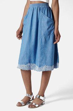 Topshop embroidered chambray midi skirt