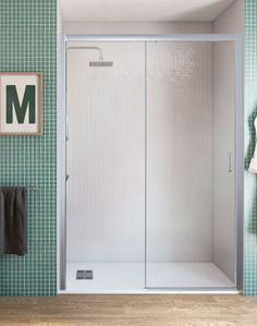 Frente de mampara de ducha serie Cool con fijo y hoja corredera, vidrio transparente antical.