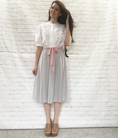 Vintage 80s Victorian Lace Trim Top Pink Belt Swing Skirt Dress XL White Gray…