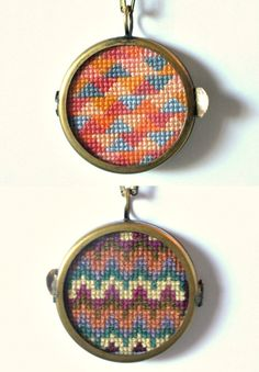 Double Sided Geometric Cross Stitch Necklace