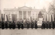 """16 of the """"Silent Sentinels,"""" the group of suffragists who picketed in front of the White House for two and a half years for women's suffrage, were arrested in 1917. The women were charged with """"obstructing traffic"""" and sentenced to 60 days in jail at the Occoquan Workhouse in Virginia."""