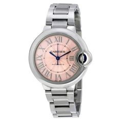 Cartier Ballon Bleu Pink Dial Stainless Steel Automatic Ladies Watch W6920100, Silver