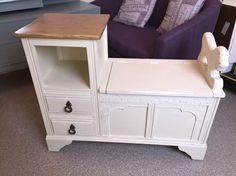 Oak telephone seat,Upcycled using Annie Sloan cream & slightly distressed