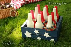 Memorial day or of July Ring Toss… This portable DIY bottle ring toss game is the perfect way to take some friendly family competition to the beach, a day at the park, or your next backyard BBQ. 4th Of July Celebration, 4th Of July Party, Fourth Of July, 4. Juli Party, 4th Of July Games, Decoration Bedroom, Ring Toss, Toss Game, Patriotic Party