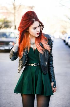 Fashion ideas #GreenDress #BlackTights #BlackJacket