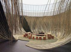 """Dancing Bamboo"" by Hiroshi Teshigahara: Artist and Ikebana Master Sogetsu Ikebana, Bamboo Structure, Bamboo Architecture, Amazing Architecture, Bamboo Art, Bamboo Design, Marmaris, Exhibition Space, Stage Design"