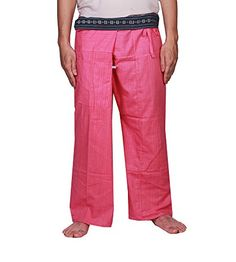 MangoNest Mens and Womens Unisex Thai Fisherman Striped PantsOne Size Pink ** Clicking on the VISIT button will lead you to find similar product