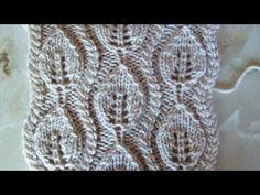 Ажурный узор Листочки Вязание спицами Видеоуроки - YouTube