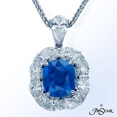 Style 2472 Sapphire pendant featuring a certified 3.57 ct 'no heat' cushion blue sapphire encircled by 12 perfectly matched oval diamonds. Platinum #pendant #sapphire #sapphirependant