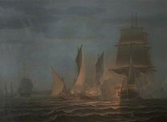 'A French chasse-marée attacking a British merchant ship', by Robert W. Salmon, 1805