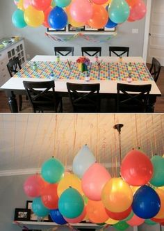 balloon decorations without helium. Smart since there is a global helium shortage cheap easy party decor