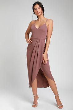 Let the allure of the Lulus Reinette Mauve Purple Midi Dress garner attention wherever you go! Midi dress with a princess seamed bodice and faux wrap skirt. Satin Midi Dress, Mauve Dress, Belted Dress, Purple Dress, Formal Midi Dress, Homecoming Dresses, Bridesmaid Dresses, Tie Front Dress, Ribbed Knit Dress