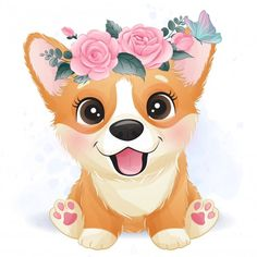 Pet Anime, Anime Animals, Baby Animal Drawings, Cute Drawings, Drawing Sketches, Cute Animal Illustration, Watercolor Illustration, Cute Little Dogs, Cute Dogs