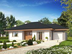 Projekt domu Franczi II (wersja A) economic Good House, House 2, Simple House, Best House Plans, Dream House Plans, Single Storey House Plans, Home Fashion, Gazebo, Garage Doors
