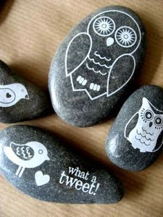 we already love to paint rocks, but I loved this idea of putting urethane on the stone so it shines - brings out the grain in the stone