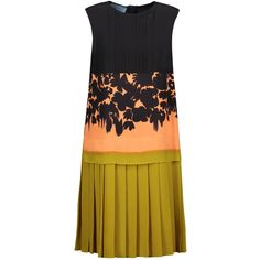 Prada - Pleated Printed Silk Dress ($1,078) ❤ liked on Polyvore featuring dresses, orange, orange silk dress, orange dress, print dresses, pattern dress and prada dresses