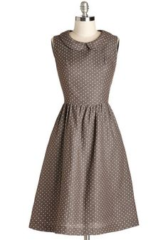 Morning Roast Dress - Brown, Polka Dots, Peter Pan Collar, Casual, Vintage Inspired, 50s, A-line, Sleeveless, Good, Collared, Long, Woven, W...