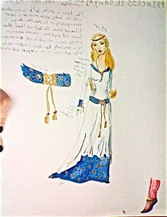 """Eilonwy's gown worn when she returns to Caer Dallben in The High King. ~The dress is white, both in accordance with the books, which mention her wearing white, & to show the change in Eilonwy since 'The Book of Three'. When Taran first met her, She was wearing a simple tunic of white; now returning as a """"young lady"""", her dress is again white- but now silk, and in an elegant, rich style. H.D. 2013"""
