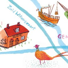One more crop of the illustrated map I did for MEST Magazine #10. Thanks again for the fun commission @mestmagazine!  By Marjolein Schalk. #ink #instaart #instagood #illustratie #illustration #illustratedmap #map #plattegrond #brabant #boat #mestmag