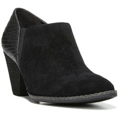 Dr. Scholl's Charlie Women's High Heel Ankle Boots ($85) ❤ liked on Polyvore featuring shoes, boots, ankle booties, black, high heel ankle boots, faux leather booties, black leather boots, black high heel boots and black leather ankle booties
