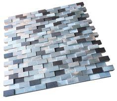 """Silver Aliminum 3d Random Pattern Mosaic Tiles Sheet Size: 11 3/4"""" x 11 3/4"""" x Arch Tile: 5/8"""" x 11/8"""" Type: Aliminum"""