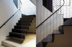 Midtown Minimal contemporary staircase - love the wire attached straight to the ceiling