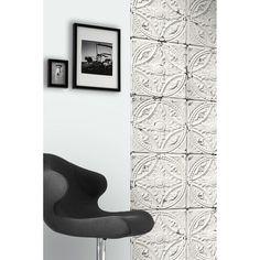 Antique white tin tiles wallpaper (012P01X6) - Koziel.fr