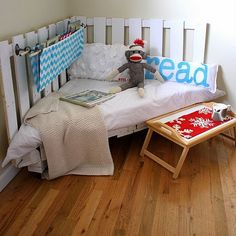 Repurposed Boards/Pallet/Fence: Small enough for a reading nook, cozy enough for a child's bed! (Although, Custom fitted bed roll will be needed.)