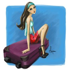 Travelling by Hajna Travelling, Disney Characters, Fictional Characters, Illustrations, Graphic Design, Disney Princess, Artist, Blog, Illustration
