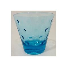 Image of Blue Mid-Century Low Ball Glasses - Set of 8