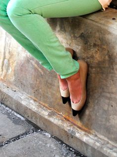 mint green pants and flats