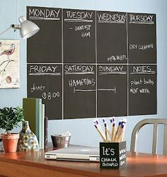 Chalkboard Contact Paper - make a cute weekly calendar on the wall!