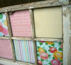 Old windows: Simple and could be changed each season! Dishfunctional Designs: Window of Opportunity: Old Salvaged Windows Get New Life As Unique Decor Vintage Windows, Old Windows, Windows Decor, Antique Windows, Old Window Crafts, Door Crafts, Frame Crafts, Girls Headboard, Diy Headboards