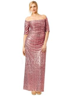 Evening Dresses - $132.79 - Sheath/Column Off-the-Shoulder Floor-Length Sequined Evening Dress With Ruffle (0175057971)
