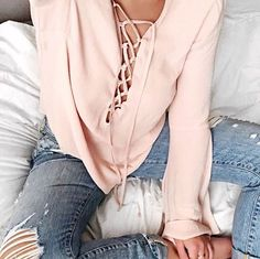 4692218612e lace up details Tie Up Shirt, Laced Up Shirt, Fall Outfits, Casual Outfits