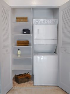 Linen closet shelton st on pinterest apartment laundry rooms stackable washer and dryer and - Washer dryers for small spaces ideas ...